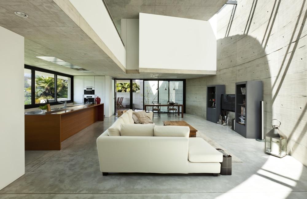 loft woonkamer beton